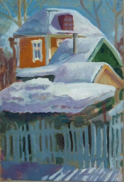 """Painting titled """"roofs"""" by Alexei Efimov, Original Art,"""