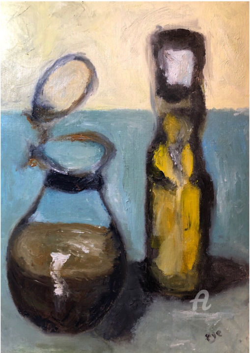 vintage oilcups - Painting,  11.8x8.3x0.2 in, ©2019 by Egecan Erçin -                                                                                                                                                                                                                                                                                                                                                                                                                                                                                                                                              Impressionism, impressionism-603, Patterns, Still life, Food & Drink, oilpainting, objects, vintage, oilcups, naturmort, stilllife