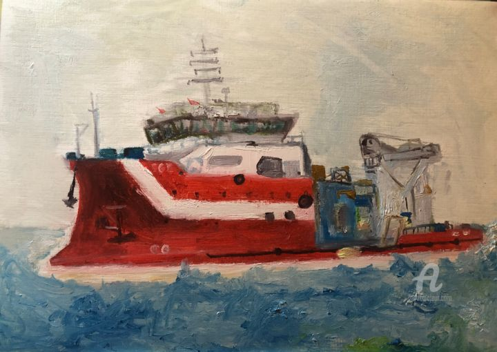 red vessel en route - Painting,  8.3x11.8x0.2 in, ©2020 by Egecan Erçin -                                                                                                                                                                                                                                                                                                                                                                                                                                                                                                                                                                                          Expressionism, expressionism-591, Seascape, Water, Boat, Yacht, ship, vessel, tanker, red, sea, wave
