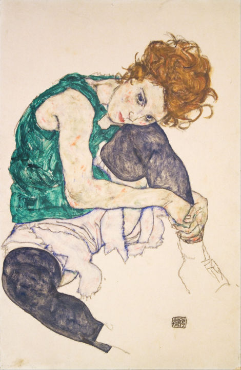 Painting, watercolor, artwork by Egon Schiele