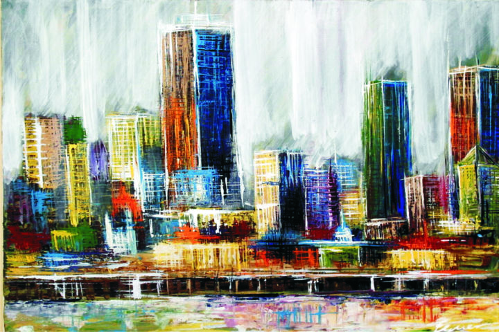 """Painting titled """"downtown-1.jpg"""" by Eguer, Original Art, Acrylic"""