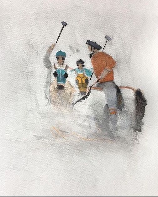 """Painting titled """"Polo riders"""" by Ehsan Attarian, Original Art, Watercolor"""