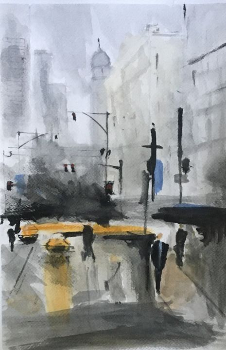 """Painting titled """"new york"""" by Ehsan Attarian, Original Art, Watercolor"""