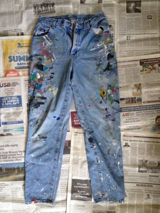 """Painting titled """"Jeans #5"""" by Eileen The Artist, Original Art, Acrylic"""