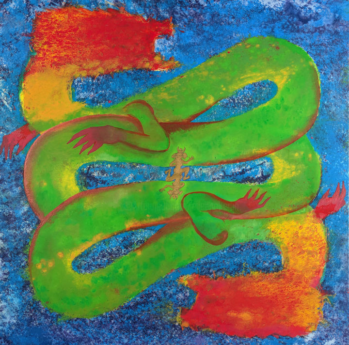 The Dragon A - Pittura,  48x48x1,5 in, ©2019 da Eileen -                                                                                                                                                                                                                                                                                                                                                                                                                                                                                                                                                                                                                                                                                                                                                                                                                                                                                                                                                                                                                                                                                                                                                                                                                                                                              Abstract, abstract-570, Arte astratta, Colori, Asia, Mortalità, Spiritualità, abstract, color, dragon, people, chasing, running, symmetry, red, blue, green, expressionism, splatter, drip, drop, blob, spray, white, yellow, orange, drug