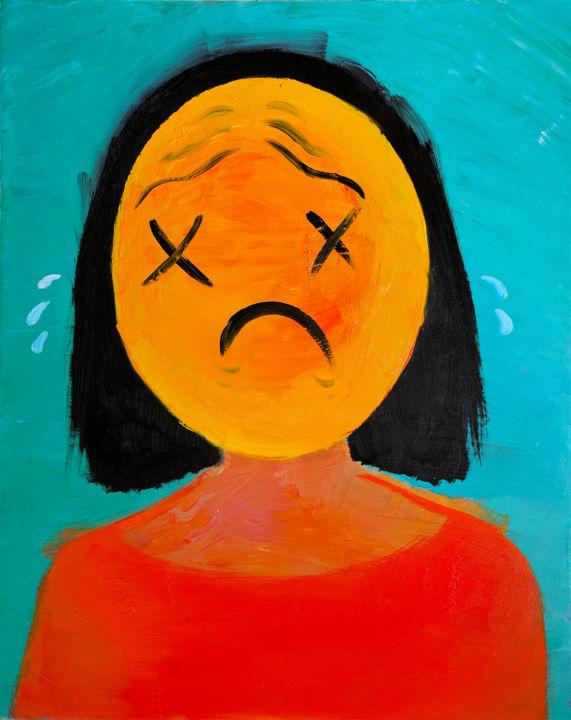 They Forgot My Birthday! - Malerei,  20x16x0,5 in, ©2019 von Eileen -                                                                                                                                                                                                                                                                                                                                                                                                                                                                                                                                                                                                                                                                                                                                                                                                                                                                                                                                                                                                                                                                                                                                                                                                                                                                              Abstract, abstract-570, Abstrakte Kunst, Farben, Menschen, Portraits, Frauen, forgot, my, birthday, feelings, sad, face, portrait, black, aqua, orange, yellow, smilie, women, red, they, cry, sob, ouch, pain, emotions
