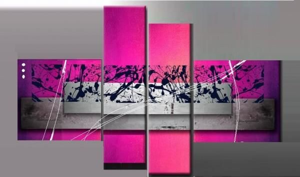 Tableau Moderne Expérience - Painting,  27.6x55.1 in, ©2012 by EJRAC -                                                                                                                                                                          Abstract, abstract-570, Tableau abstrait fucshia peint main EJRAC.