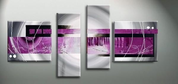 Tableau Imagination - Painting,  23.6x43.3 in, ©2012 by EJRAC -                                                                                                                                                                          Abstract, abstract-570, Tableau en reliefs fuschia et gris design.