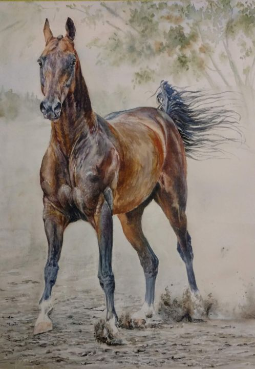 """Saigon"" - Painting,  40x30 cm ©2018 by Екатерина Герасимова -                                                            Realism, Paper, Horses, akhalteke, art_animalistica, equineart"