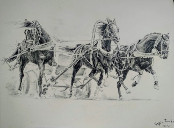 Troyka - Drawing,  11.8x15.8x0.1 in, ©2018 by Ekaterina Gerasimova -                                                                                                                                                                                                                                                                                                                                                                                                                                                                                                                                              Figurative, figurative-594, Animals, History, Horses, World Culture, drawing, pencil, graphic, realism, hiperrealism