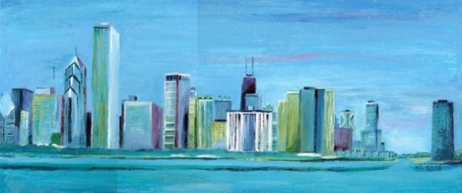"""Painting titled """"Chicago"""" by Eg, Original Art,"""
