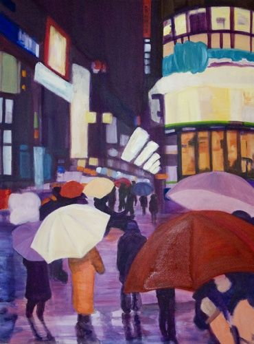 """Painting titled """"Lights of Ginza Toy…"""" by Elly B, Original Art, Acrylic"""