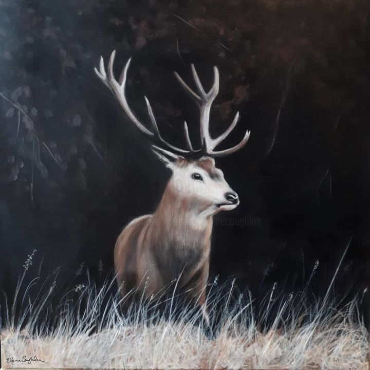 """Painting titled """"Stag"""" by Elaine Coughlan, Original Art, Acrylic"""