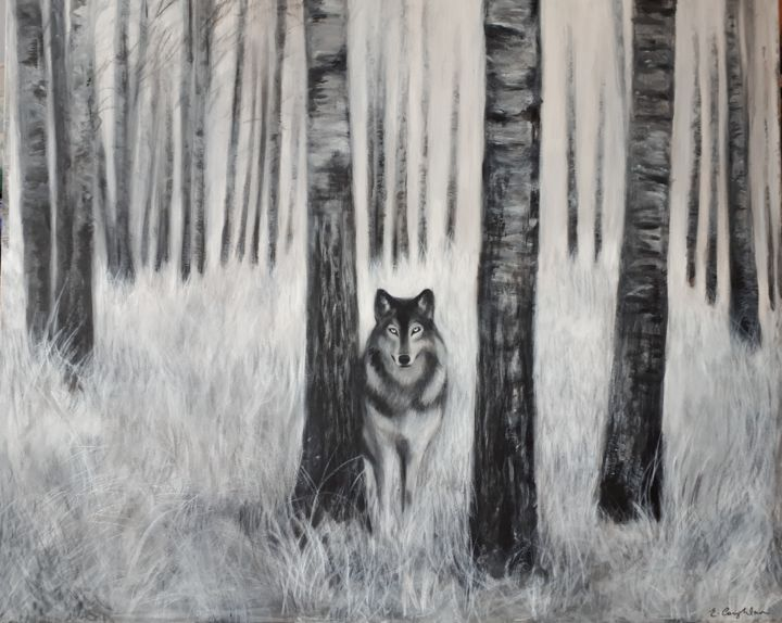 Wolf - Pintura,  19,7x27,6 in, ©2018 por Elaine Coughlan -                                                                                                                                                                                                                                                                                                                                                                                                                                                                                                                                                                                                                                                                                  Illustration, illustration-600, Animales, wolf, forest, fine art, nature, woods, trees, natural, handpainted, acrylic art, canvas, original