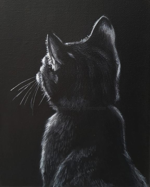 """Painting titled """"Cat shadow."""" by Elaine Coughlan, Original Art, Acrylic"""