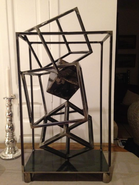 "EldeKan ""Frame Cubes#5"" - Sculpture,  75x39.5x33 cm ©2019 by EldeKan -                                        Abstract Art, Metal"