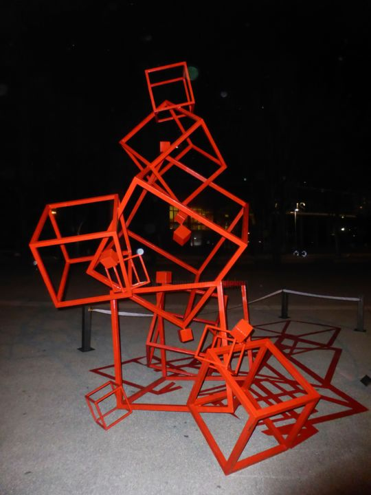 "EldeKan ""Very High Cubes"" au SIAC 2016 - Sculpture, ©2016 by Eldekan -                                                                                                                                                                                                                                                                                                                                                                                                                                                                                                                                              Abstract, abstract-570, Metal, eldekan, sculpture, rouge, art contemporain, acier, métal, cubes, abstrait"