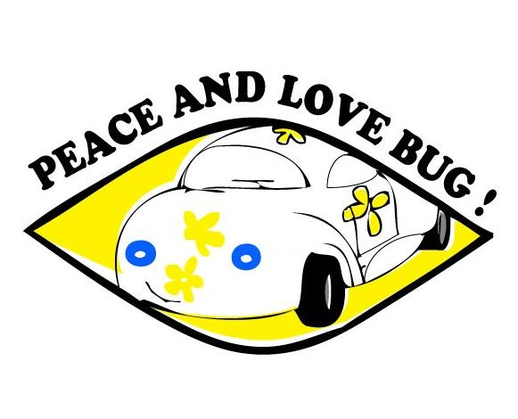 """Painting titled """"PEACE AND LOVE BUG!"""" by Rembert Räni, Original Art, Acrylic"""