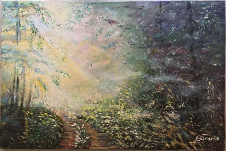"""Painting titled """"Pearlescent Morning"""" by Elena Chebotareva, Original Art, Oil"""