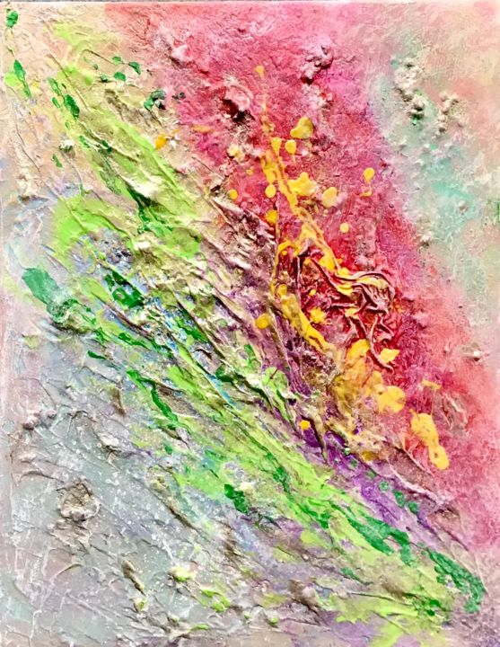 color splash - Painting,  18x14x1.5 in, ©2019 by Elena Kostiukova -                                                                                                                                                                          Abstract, abstract-570, Abstract Art