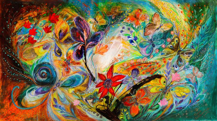 The dancing Butterflies - Painting,  61x34x2 in ©2015 by Elena Kotliarker -                                                                                                Abstract Expressionism, Canvas, Abstract Art, Fantasy, Flower, Still life, dancing Butterflies, flowers, figurative art, wall hanging, wall decor, interior design