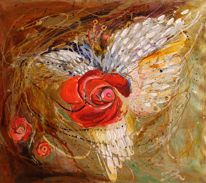 The Angel Wings #7 Mistery of Three Keys Painting by Elena