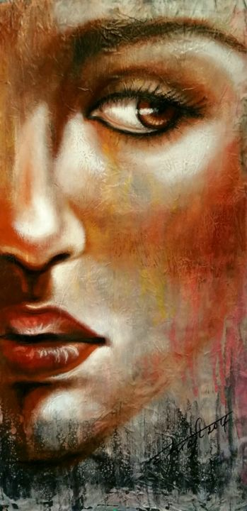 """Golden eye"" - Painting,  95x50x2 cm ©2018 by Elena Kraft -                                                                                    Expressionism, Figurative Art, Portraiture, Fabric, Portraits, portrait, face, original  art, mixed media, elena kraft"