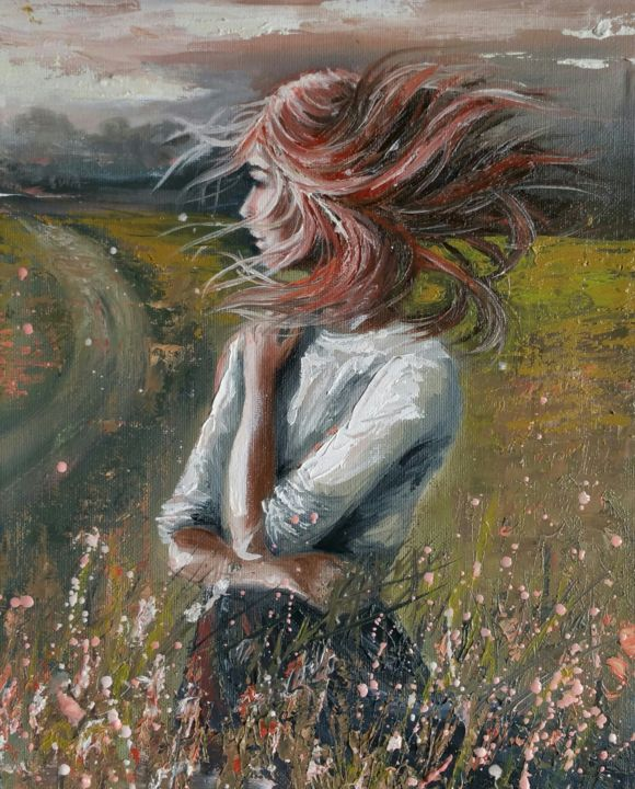 """Ginger  wind"" 24x30x1.7cm - Painting,  30x24x1.7 cm ©2018 by Elena Kraft -                                                                                                            Figurative Art, Land Art, Portraiture, Canvas, Women, Landscape, Portraits, woman, girl, figurative, Portrait, summer, wind"