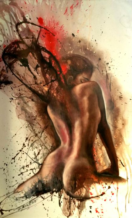 """""""The birth of an Angel IV"""" 98x150cm - © 2018 angel, nude, erotica, woman, beauty, oil painting Online Artworks"""