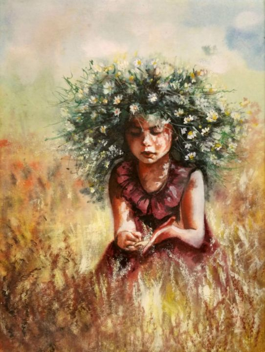 """""""Country  summer I"""" - Painting,  40x30x2 cm ©2018 by Elena Kraft -                                                                                                                        Figurative Art, Portraiture, Realism, Canvas, Paper, Flower, Kids, Rural life, summer, country, girl, figurative, child"""