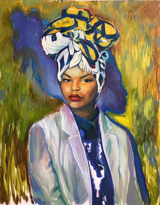 """Painting titled """"Woman in the turban"""" by Elena Elena, Original Art, Oil"""