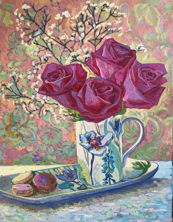 """Painting titled """"Still life with ros…"""" by Elena Elena, Original Art, Oil"""