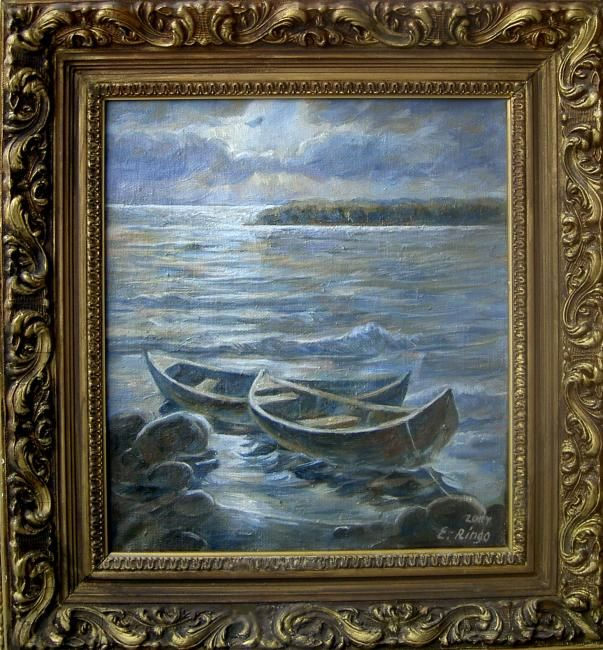 """Painting titled """"Two Boats"""" by Elena Ringo, Original Art,"""