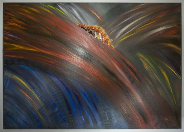 """Painting titled """"Abstract - Firework…"""" by Elena Dimopoulos, Original Art, Oil"""