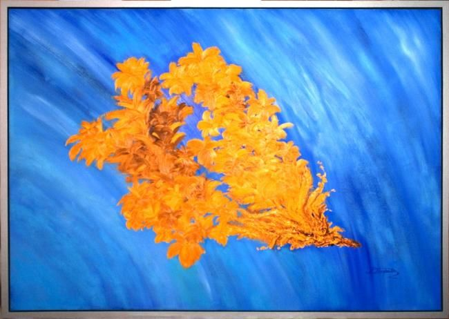"""Painting titled """"Abstract - Turquois…"""" by Elena Dimopoulos, Original Art,"""