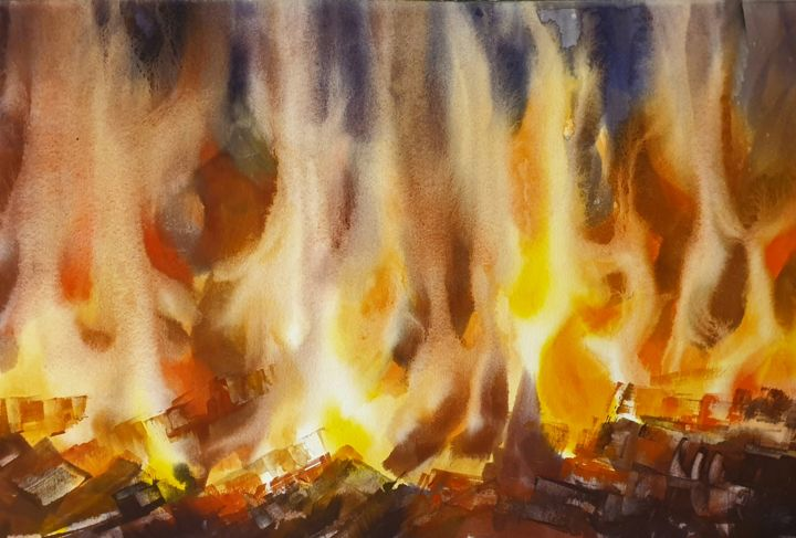 Elements. Fire - Peinture,  15x22,1 in, ©2019 par Elena Genkin -                                                                                                                                                                                                                                                                                                                                                                                                                                                                                                                                                                                                                                                                                                                                                                          Impressionism, impressionism-603, Paysage, fire, fireplace, flame, flames, light, winter, evening, hearth, house, home, yellow, blight, warm