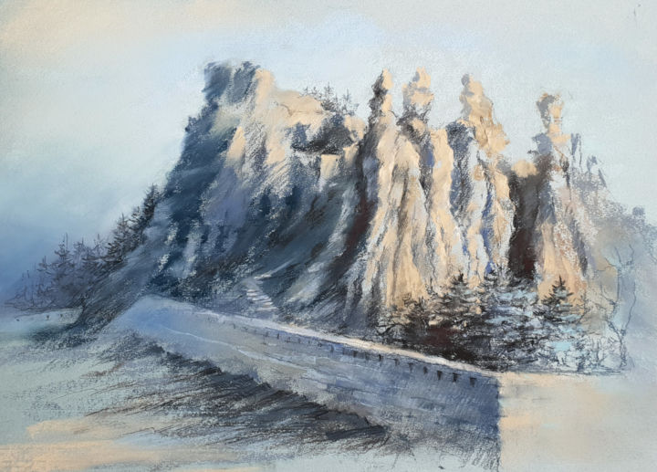 Mystical Mountains. 2nd Edition. - Drawing,  11.8x17.7 in, ©2018 by Elena Genkin -                                                                                                                                                                                                                                                                                                                                                                                                                                                                                                                                                                                                                                      Impressionism, impressionism-603, Landscape, mountains, gift for him, cliff, rocks, bulgaria, contemporary, idea for present, idea for interior, alpinist gift, stonescape