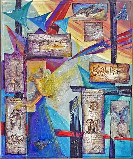 Prometheus - Mixed Media,  48x52 cm ©2010 by Elena Martém -            Prometheus is surrounded by beautiful swooping figures and symbols - mixed media