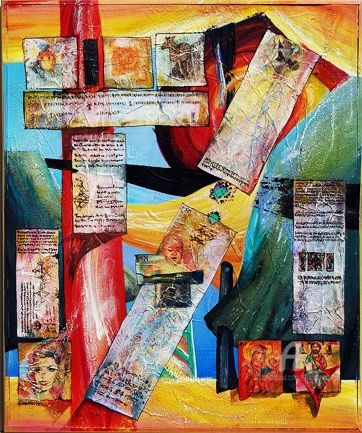 Ways of The life - Mixed Media,  48x52 cm ©2010 by Elena Martém -            Beautifully intersecting paths-roads, symbols of of different ages and religions, the writings - mixed media