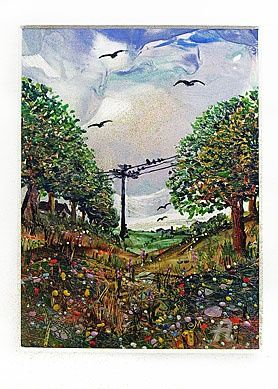 - summer landscahe - sommar landskap - - летний п - Painting,  23x35 cm ©2011 by Elena Martém -            Summer nature beautiful landscape with trees