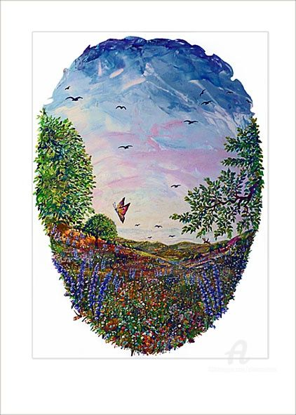 A Hot Day-Жаркий день1 - Painting,  70x50 cm ©2010 by Elena Martém -            Beautiful Summer landscape a harmonious nature with trees, in an oval shape on paper