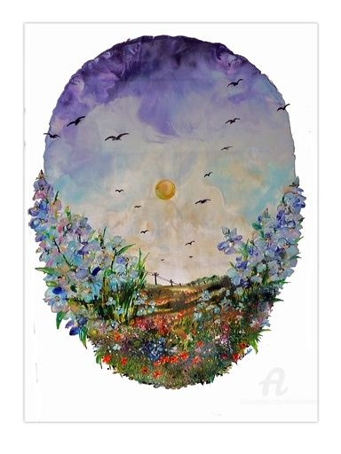 Among the blue flowers -Среди голубых цветов - Painting,  70x50 cm ©2011 by Elena Martém -            Beautiful and delicate summer landscape with big blue flowers and bright and cloudless sky with flying birds, oval in shape and executed on a special paper