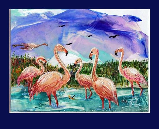 A flamingo Family-Семья Фламинго - Painting,  56x42 cm ©2012 by Elena Martém -            Bright picture standing in the water of flamingo, made on special paper