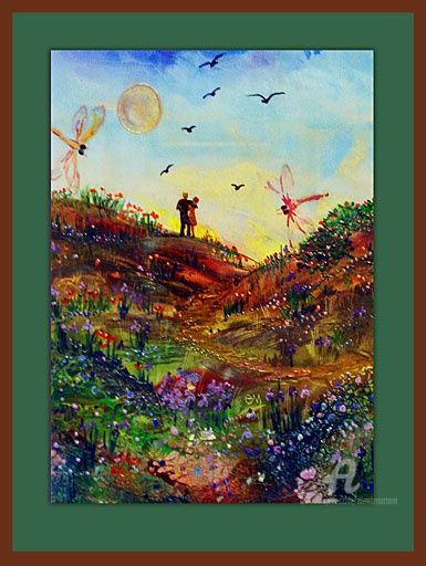 Loving couple - Влюбленная пара - Painting,  50x40 cm ©2010 by Elena Martém -                                            Art Nouveau, Paper, A romantic summer landscape with a couple in love, done on special paper