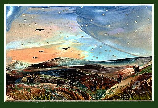 First snow- --Первый снег - Painting,  40x50 cm ©2011 by Elena Martém -                            Art Nouveau, On the background of a beautiful autumn sunset fall first snowflakes, is done ​​on special paper