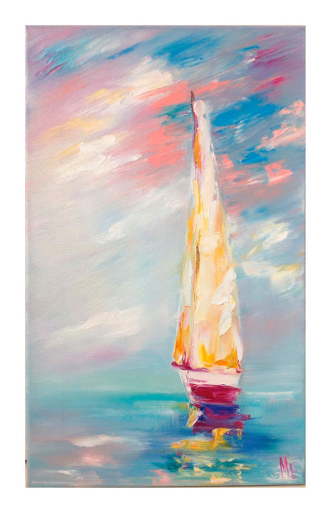Sailboat - Painting,  30x50x3 cm ©2017 by Elena Medvedeva -                                                                                                Impressionism, Cotton, Canvas, Water, Ships, Yacht, sailboat, sea, water