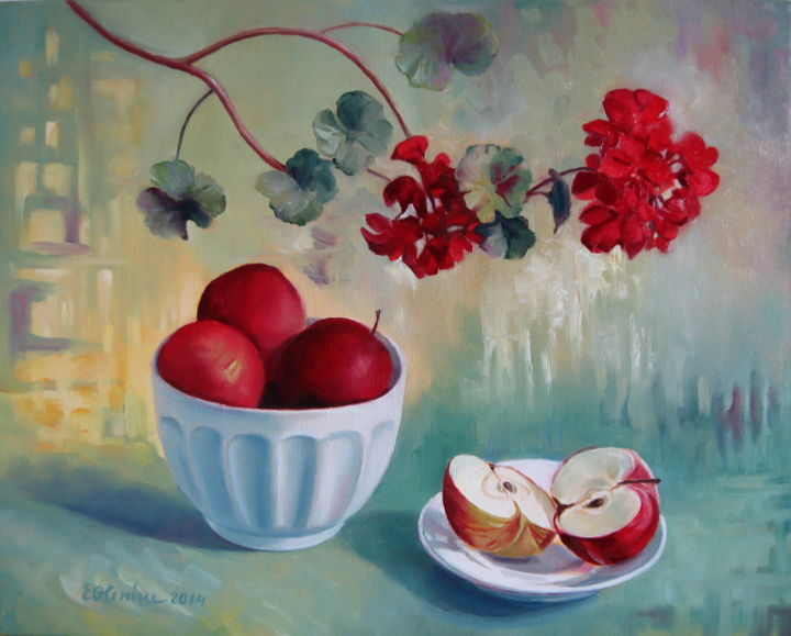 """Painting titled """"Flowers and fruits"""" by Elena Oleniuc, Original Art, Oil"""