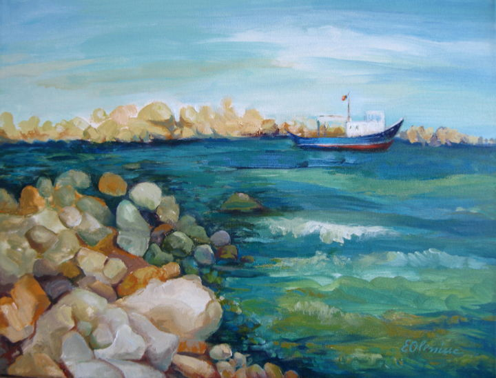 """Painting titled """"Looking at the sea"""" by Elena Oleniuc, Original Art, Acrylic"""