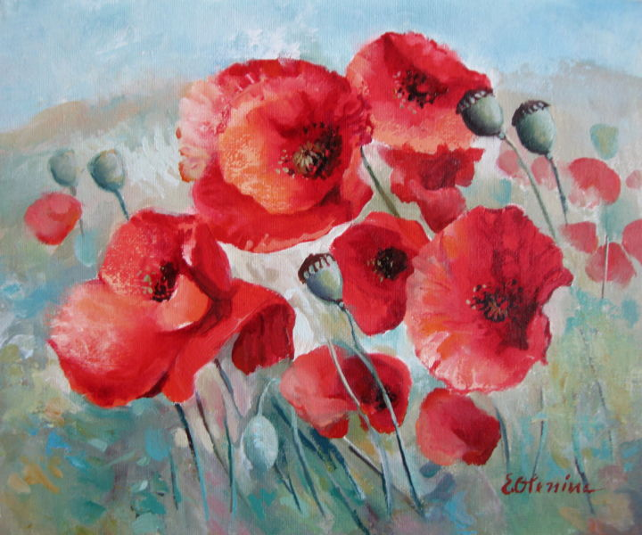 """Painting titled """"Red poppies"""" by Elena Oleniuc, Original Art, Acrylic"""