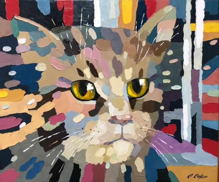 """Painting titled """"The Night Hunter"""" by Елена Серго, Original Art, Oil"""